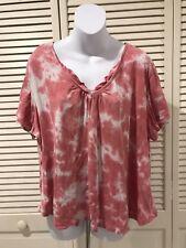 6ecf8c0e Izod Women's Pink & White Short Sleeve Tie Dye Vneck Casual Blouse Top Size  1X