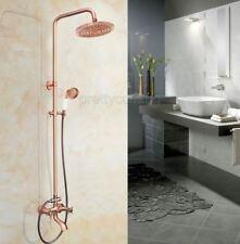 """Antique Copper 8"""" Rain Shower Faucet Set Dual Handle Swivel Tub Spout Handshower"""