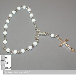 Bracelet Strand Cristiano Rosary White Pearl 5 MM New of Your Choice