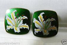 Ando Shippo Cloisonne Art Enamel Japan Green Iris Sterling Silver Clip Earrings