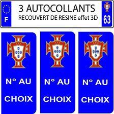 2 stickers plaque immatriculation auto DOMING 3D RESINE FLOT FAGNON PORTUGAL 51
