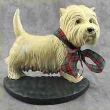 WEST HIGHLAND TERRIER WESTIE DOG Cast Iron DOORSTOP w/ TARTAN PLAID BOW