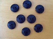 8 NAVY BLUE VINTAGE CIRCLE CASEIN SCHWANDA Buttons NOS SEWING CRAFT 14mmx4mm