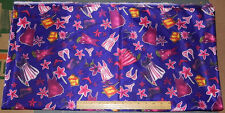 "Summer Tropical Print Flowers Swim Suits Purple Poly Fabric 56"" x 1 1/2 yds"