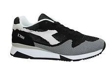 Diadora V7000 Weave Black White Textile Lace Up Mens Running Trainers C1092