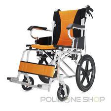 POLIRONESHOP LIGERA Carrozzina Pieghevole in Alluminio per Disabili e Anziani - Nera/Arancia