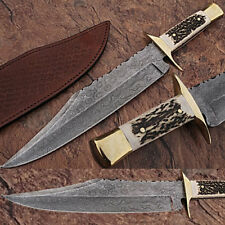 """HUGE 16"""" Full Tang Damascus Steel Bowie Hunting Knife Stag Horn Handle '"""