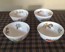 Krautheim Selb Bavaria Set Of 4 Vintage Bowls. White Vegetables Fish/Sea Animals