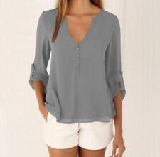 Women Summer Casual Long Sleeves Chiffon Tee T Shirt Blouse Loose Tops Size 8-24