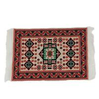 1/12 Dolls House Miniature Red Pattern Woven Floor Rug Carpet Coverings 17* L3W7