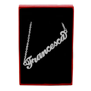 """Name Necklace """"Francesca"""" Silver Tone 