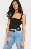 PRETTY LITTLE THING BLACK JERSEY SQUARE NECK SLEEVELESS BODYSUIT