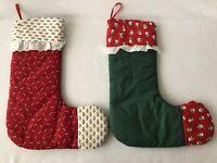 "Vintage Style Christmas Stocking 19"" Set of 2"