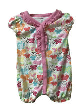 Koala Baby Girl 12 Month Colorful Butterflies Summer Button-up Romper Euc