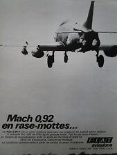 5/1970 PUB FIAT AVIAZIONE FIAT G.91 Y ITALIAN AIR FORCE ORIGINAL FRENCH AD