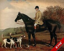 ENGLISH HUNTSMAN FOX HUNT HORSE HUNTING ART PAINTING REAL CANVAS PRINT