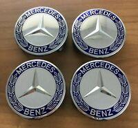 4 Mercedes-Benz Embleme Nabenkappen Nabendeckel Felgendeckel Blau Silber NEU
