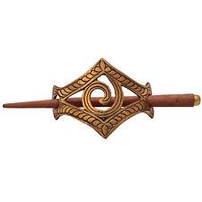 Wooden Ethnic Tribal Silvertone Metal Clip Stick Hair Accessory Indian Bun Pin