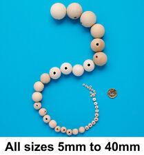 100pcs Wooden Round Big Large Wood Ball Beads Unpainted Unfinished Natural UK 40mm Single