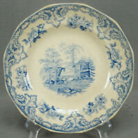 Edwards Mansion Pattern Blue Transferware Luncheon Plate Circa 1839-1842