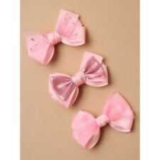 Pack of 3 Pink Bow Clips Girls Hair Bows Toddler Sparkle Hair Clips Accessories
