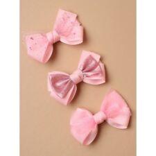 Paquete De 3 clips de arco rosado Chicas Niño arcos del pelo brillo Hair clips Accesorios