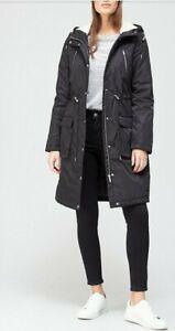 V by Very Long Fleece Lined Windcheater  - Black Size 20