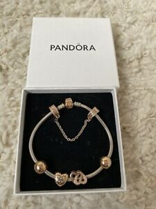 Pandora Sterling Silver Bracelet With Rose Gold Charms And Safety Chain Ex Cond
