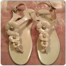 Coach Flowers Light Pink Jelly Rubber Sandals Thongs with charm Size 8