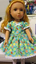 "Brt Blue Fruits Print Dress,fits 14"" WellieWishers, Glitter Girls,Heart to Heart"