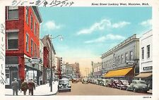 Manistee Michigan River Street Looking West Street Level View Antique PC V7122