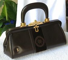 "Roberta di Camerino ""Bagonghi"": brown leather, brown velvet, & gold-tone, Italy"