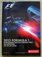 BRITISH GRAND PRIX FORMULA ONE F1 2013 SILVERSTONE Official Programme