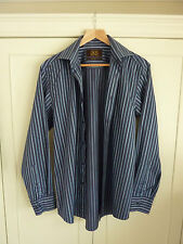 Mens Next Blue Striped Tailored Shirt Size Large Long Sleeved Washed Ironed VGC