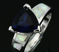 Mexican Style Trilliant Cut Blue Sapphire White Fire Opal Silver Ring Size 7