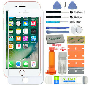 New iPhone 7 White Outer Front Glass Screen Replacement Repair Kit + Uv Glue