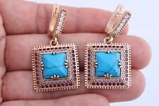 Turkish Jewelry Square Turquoise Ruby Topaz 925 Sterling Silver Drop Earrings
