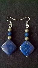 Lapis Lazuli Gemstone Earrings Sterling Silver Hooks Iron Pyrite Beads Healing