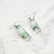 Stylish Women Drink Bottle Coffee Cup Pattern Dangle Pendant  Ear Hook  Earrings