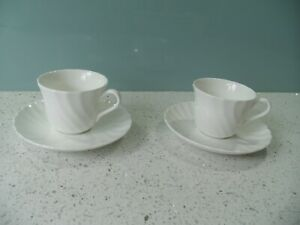 WEDGWOOD WHITE BONE CHINA CANDLELIGHT SWIRL PAIR OF SMALL COFFEE CUPS & SAUCERS