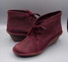 """MARSDEN LILY"" Clark's Women/Ladies Burgundy Nubuck Ankle Boots size 7 D."
