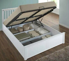 LAVISH NEW EXCLUSIVE SOLID WOODEN OTTOMAN STORAGE BED FRAME IN DOUBLE WHITE
