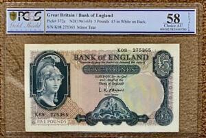 1961  OBRIEN  £5 Five pound note  K08 LAST RUN Slabbed aUNC - B280 - SN9470 1