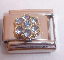 GOLD FLOWER BLUE GEMS Italian Charm 9mm fits Classic Starter Bracelets N17 Gem