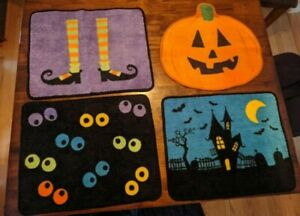 Lot Set of 4 Halloween Rug Accent Novelty Mat Spooky Eyes Haunted House Witch