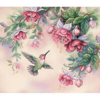 1X(Dimensions Hummingbird & Fuchsias Stamped Cross Stitch Kit-14 inch X 12 in 3I