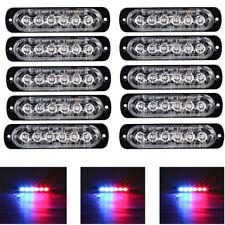 10x Blue Red 6 LED Car Truck Emergency Beacon Warn Hazard Flash Strobe Light Bar