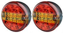 2x 12V/24V LED REAR ROUND HAMBURGER TAIL LAMP LIGHTS LORRY TRUCK CAR VAN TRAILER