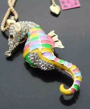 Betsey Johnson Necklace Pink Pastels Sparkles Seahorse Summer Crystals