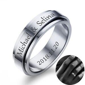 Personalized Spinner Ring Stainless Steel Rings Men Women Custom Finger Jewelry